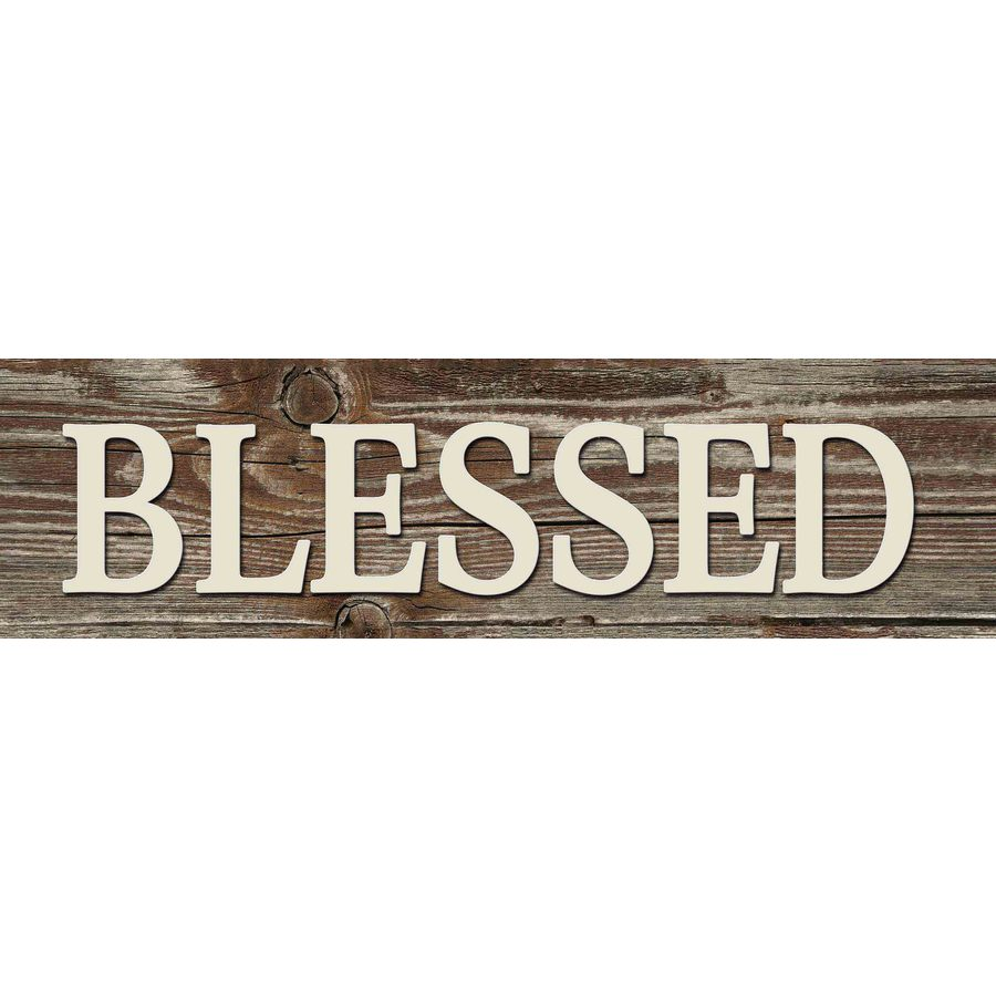 31-in W x 8-in H Frameless MDF Inspirational Blessed Plaque Wall Art