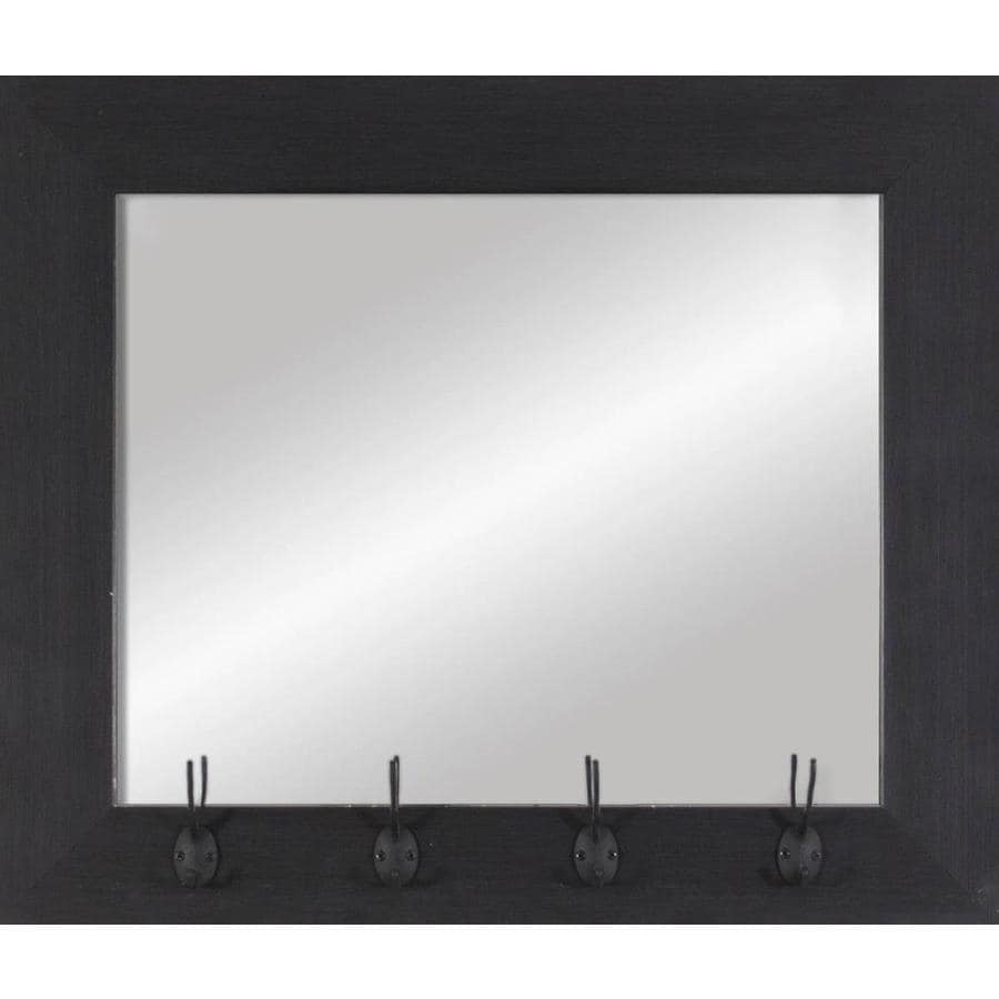 26-in x 22-in Dark Wood Polished Rectangle Framed Transitional Wall Mirror