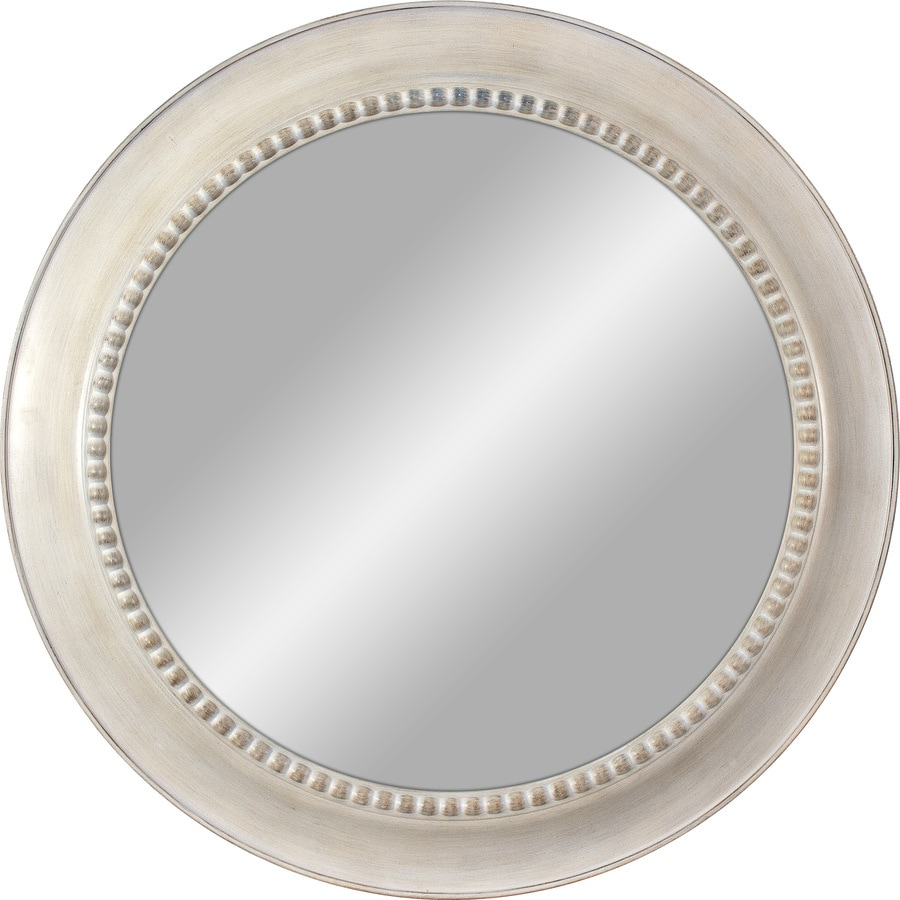 White Polished Round Wall Mirror