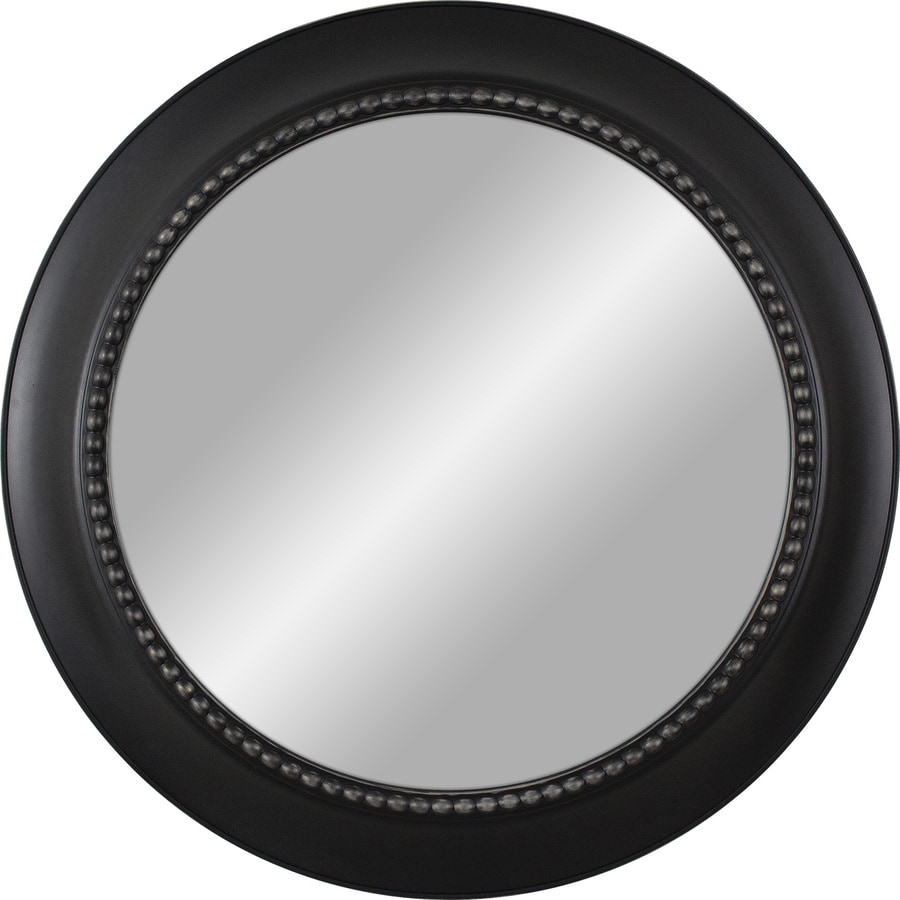 Shop black polished round wall mirror at for Round mirror