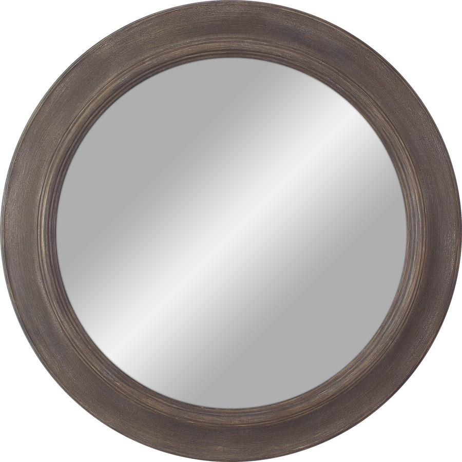 shop medium wood polished round wall mirror at