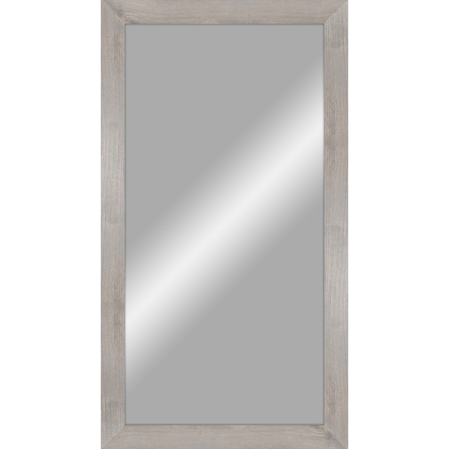 24-in x 48-in Rustic Gray Wood Polished Rectangle Framed Transitional Wall Mirror