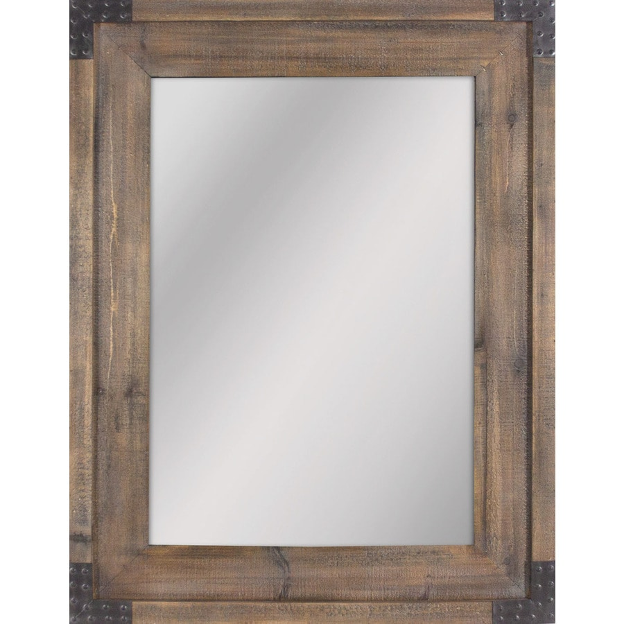 Shop allen roth reclaimed wood beveled wall mirror at for Wood framed mirrors
