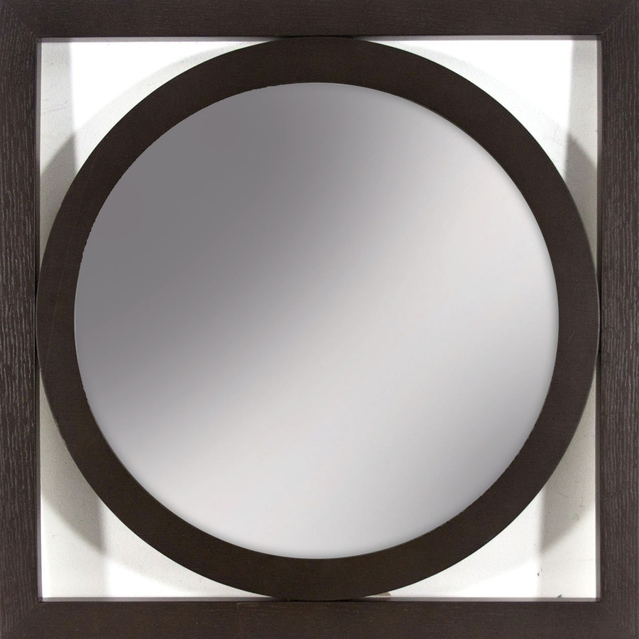 allen + roth Chocolate Brown Polished Square Wall Mirror