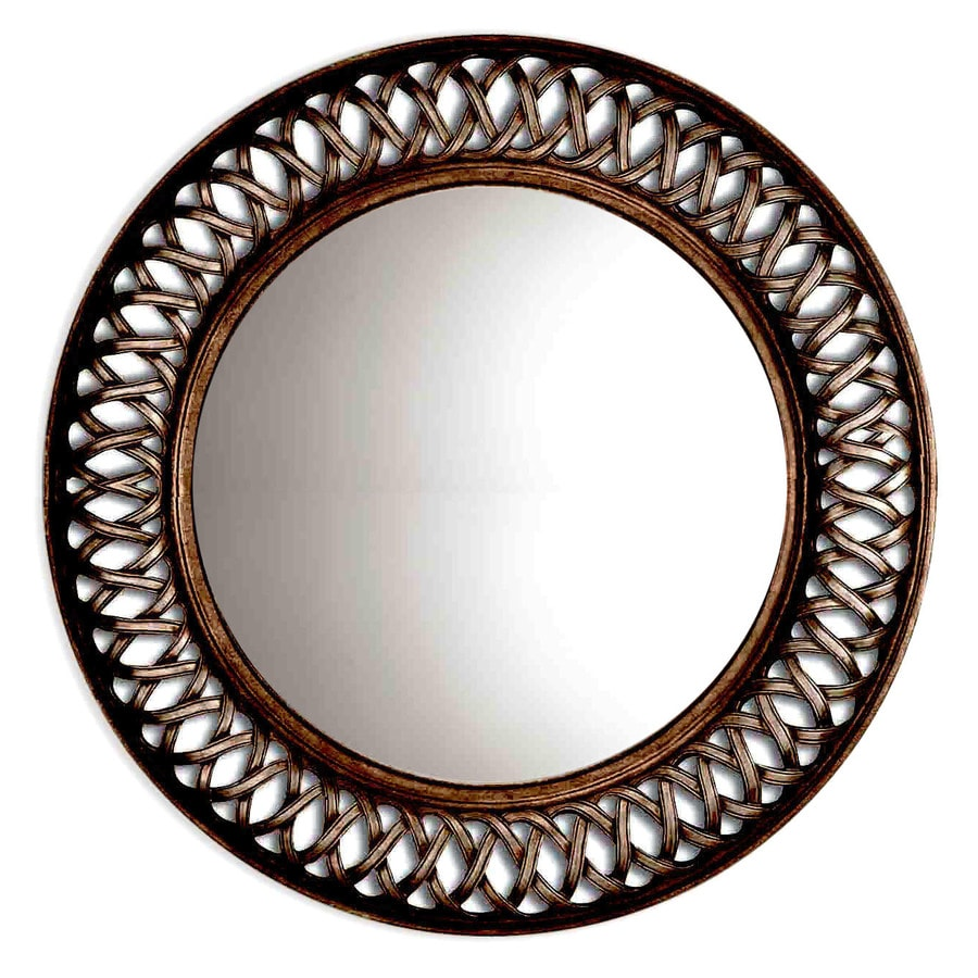 Shop oil rubbed bronze round framed wall mirror at for Circle mirror