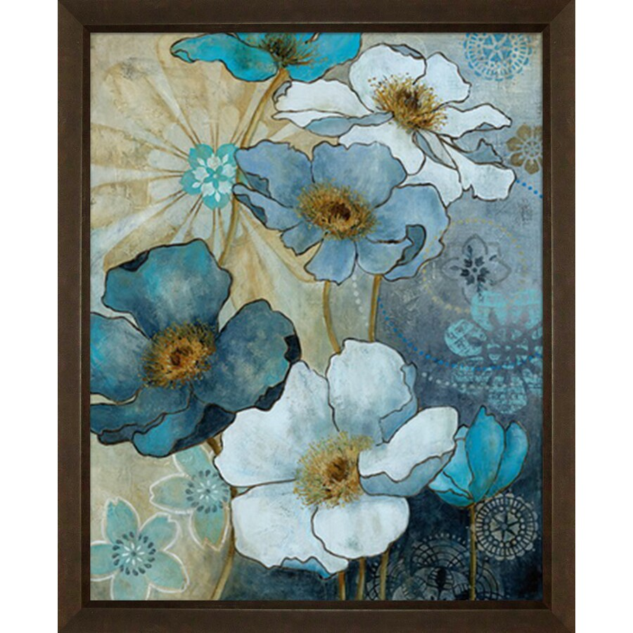 Shop 18 in w x 22 in h floral framed art at lowescom for Kitchen cabinets lowes with wall art flower