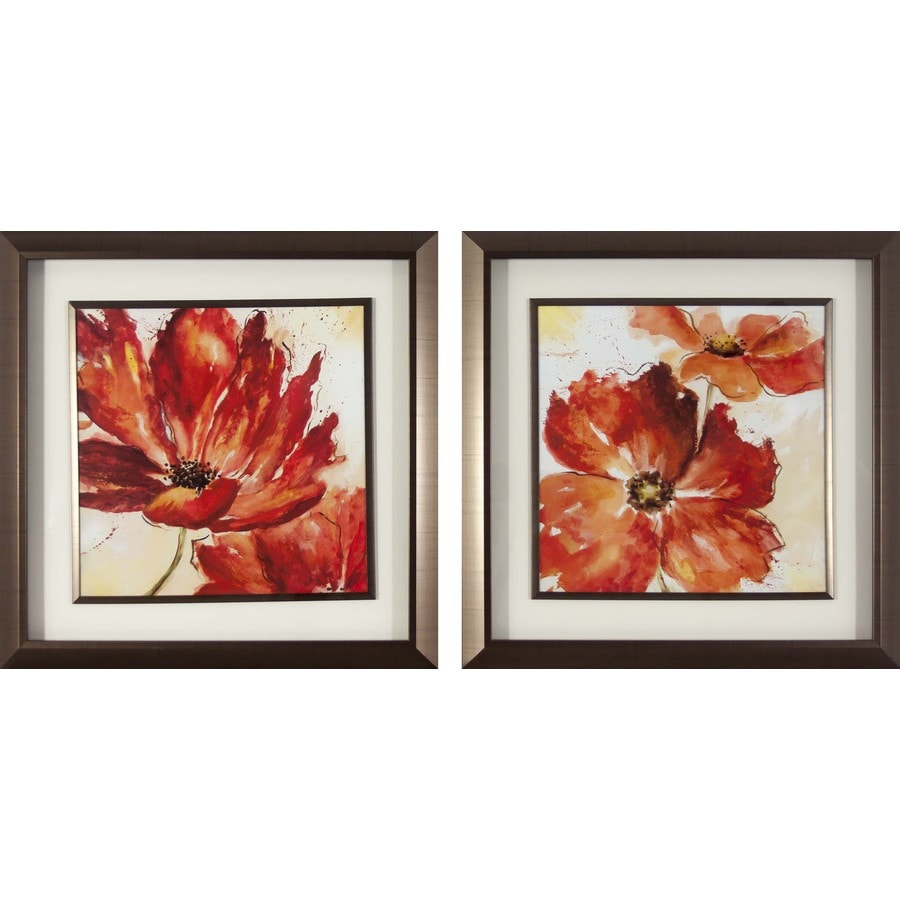2-Piece 18-in W x 18-in H Framed Floral Print Wall Art