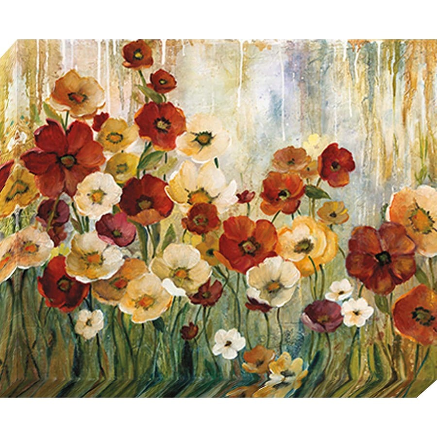 Shop 37 in w x 30 in h frameless floral canvas print at for Kitchen cabinets lowes with wall art flower