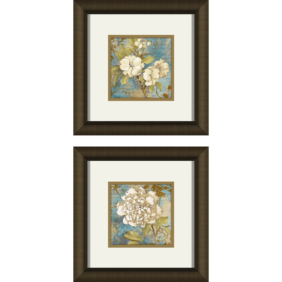2-Piece 12-in W x 12-in H Framed Plastic Floral Print Wall Art