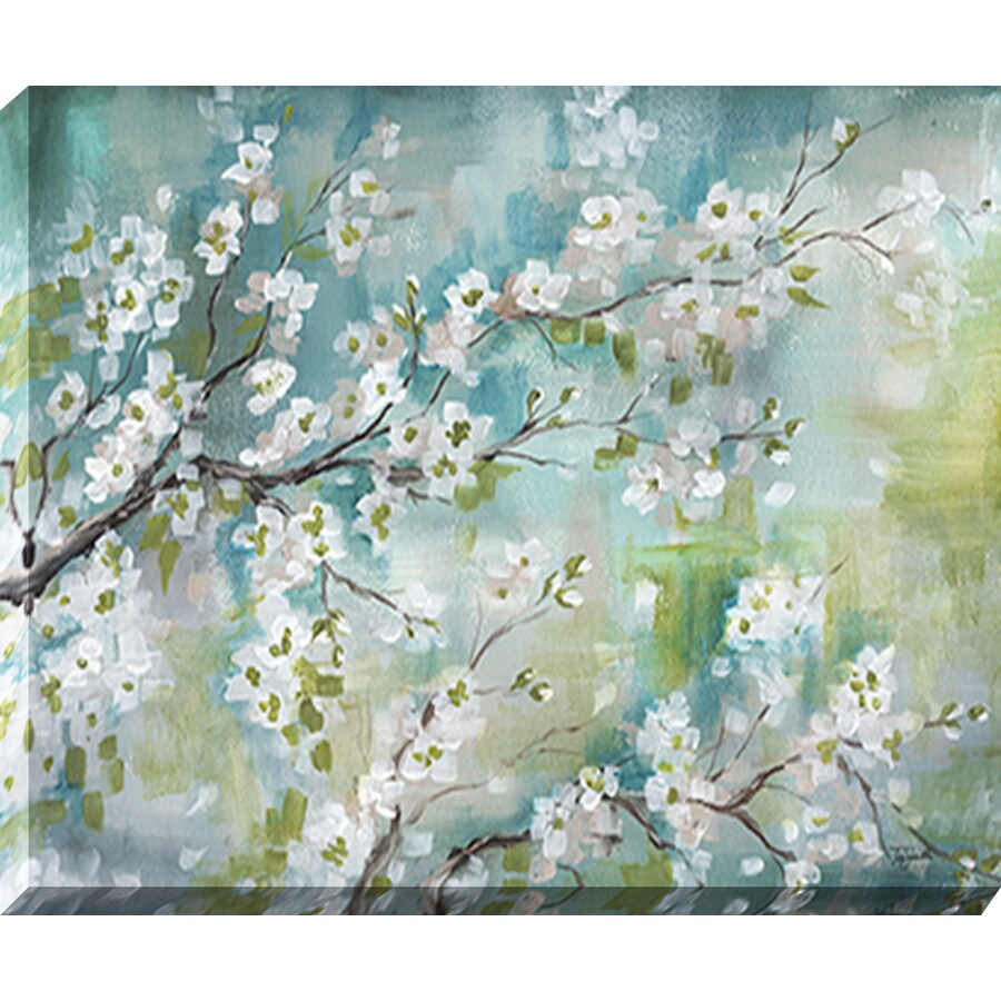 37-in W x 30-in H Frameless Wood Floral Print Wall Art