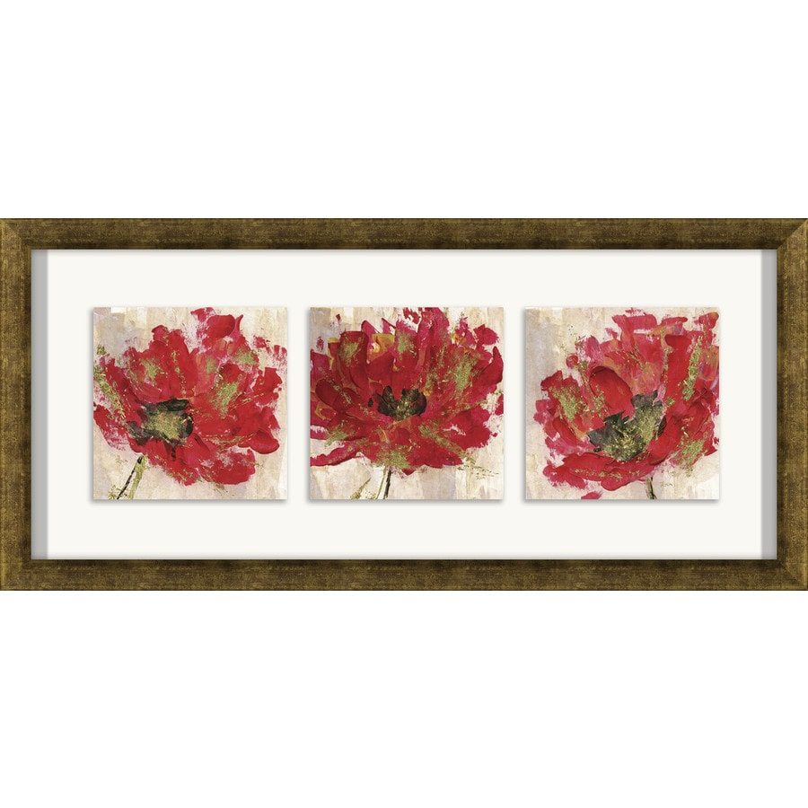 Shop 26 in w x 12 in h framed plastic floral prints wall for Kitchen cabinets lowes with wall print art