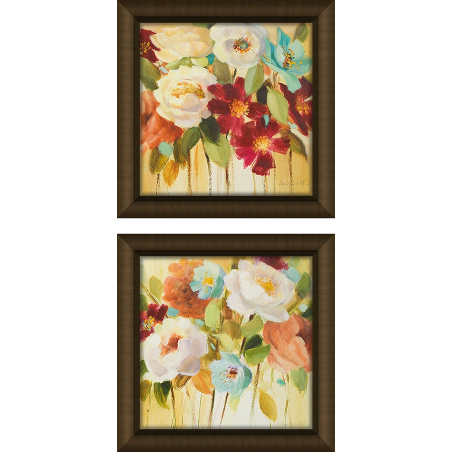 2-Piece 12-in W x 12-in H Framed Plastic Floral Prints Wall Art