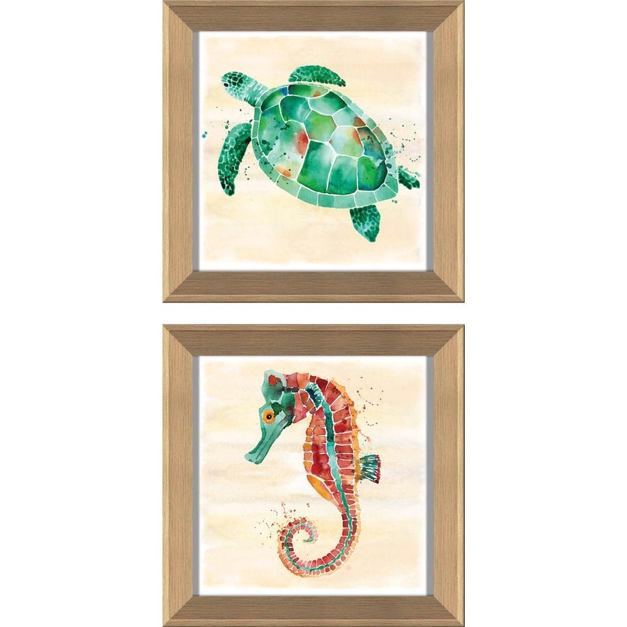 2-Piece 12-in W x 12-in H Framed Plastic Coastal Print Wall Art