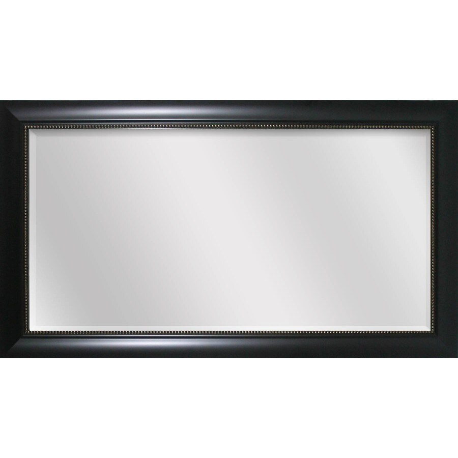 shop style selections 45 in x 24 in black beveled rectangle framed transitional wall mirror at