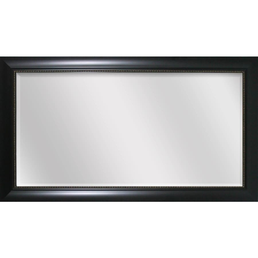 Style Selections 45-in x 24-in Black Beveled Rectangle Framed Transitional Wall Mirror