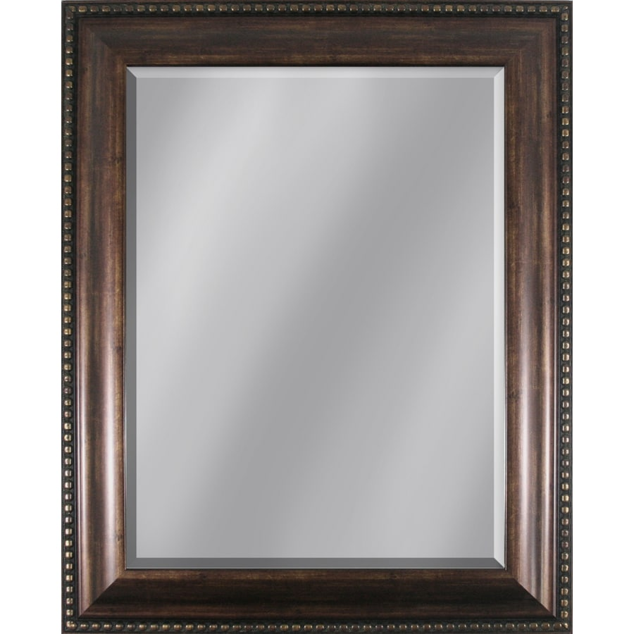 Style Selections 27.95-in x 33.86-in Copper Beveled Rectangle Framed Traditional Wall Mirror