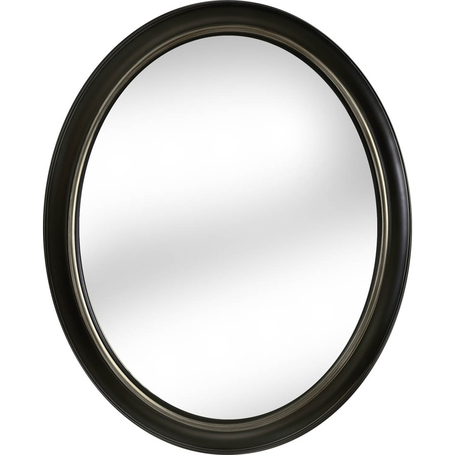 Oval Wall Mirror shop allen + roth oil-rubbed bronze polished oval wall mirror at