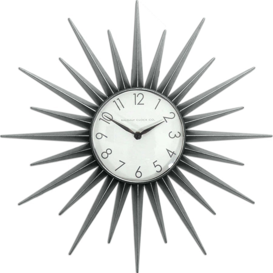 Style Selections 22-in Starburst Clock Silver Clock