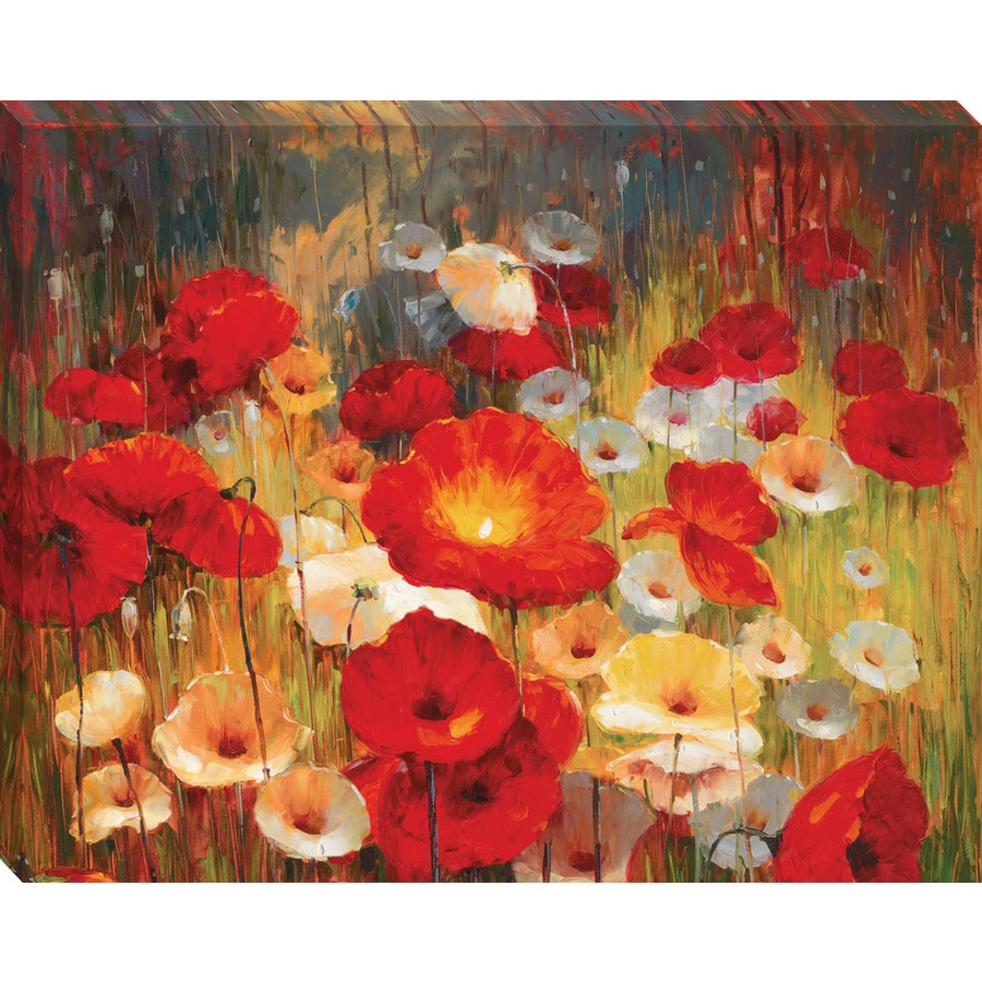 "38""H x 30""W Meadow Poppies Framed Wall Art"