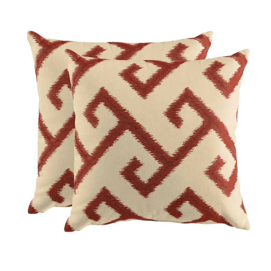 allen + roth Set of 2 Sunbrella El Greco Chili UV-Protected Square Outdoor Decorative Pillows
