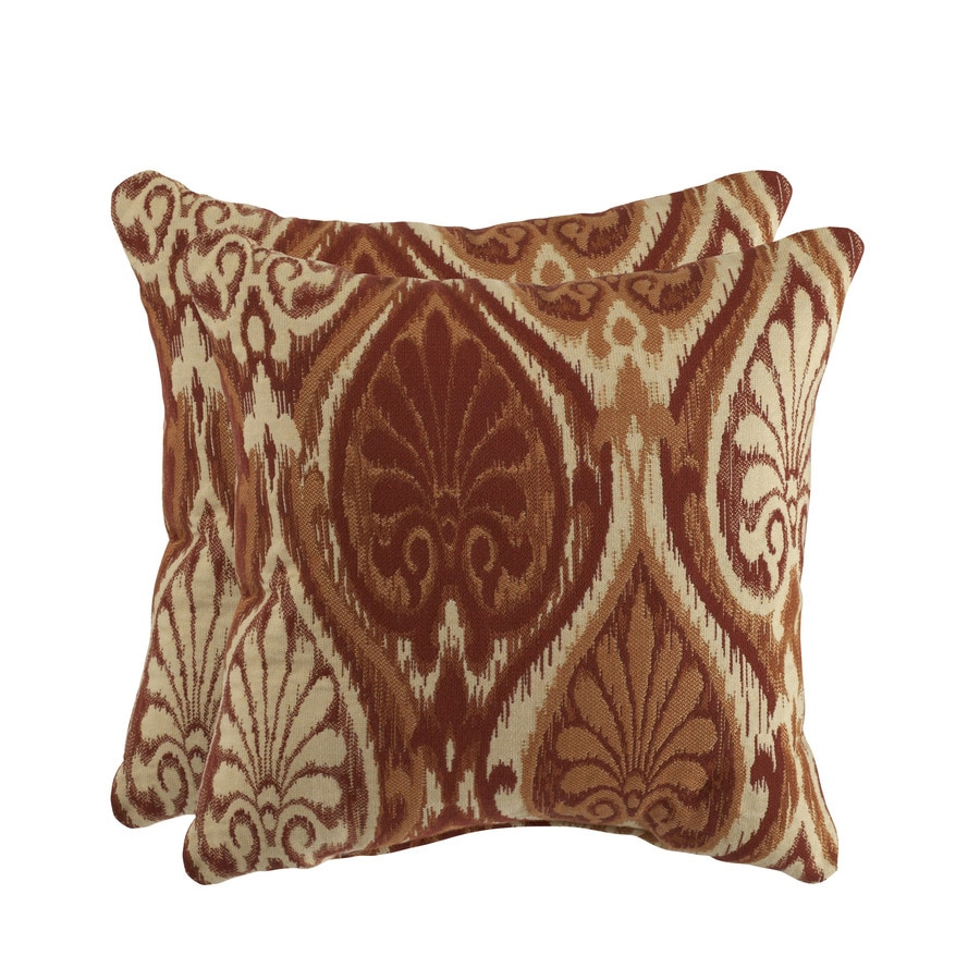 allen + roth Set of 2 Sunbrella Aura Sienna UV-Protected Square Outdoor Decorative Pillows