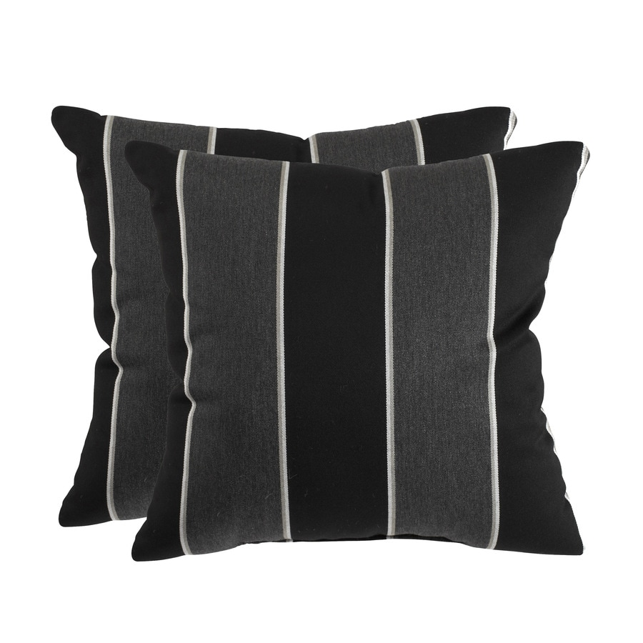 allen + roth Set of 2 Sunbrella Peyton Granite UV-Protected Square Outdoor Decorative Pillows