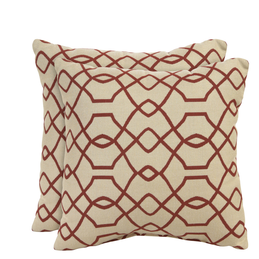 allen + roth Sunbrella 2-Pack Folio Terracotta Texture Square Outdoor Decorative Pillow