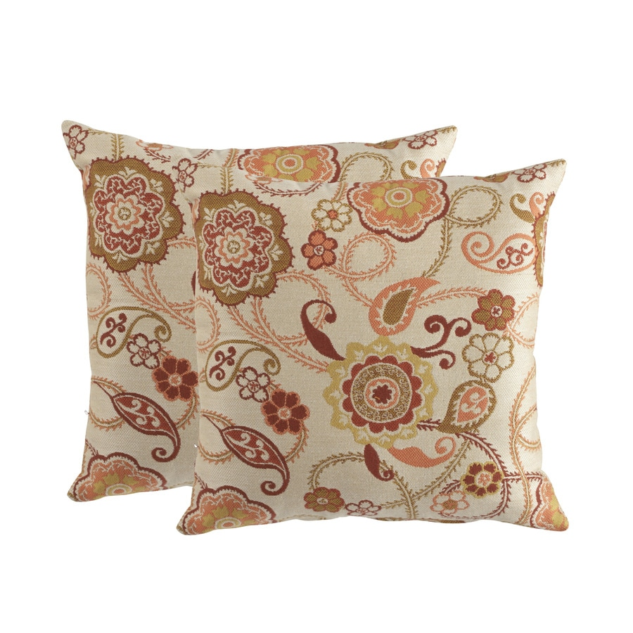 allen + roth Sunbrella 2-Pack Splendor Fiesta Floral Square Outdoor Decorative Pillow