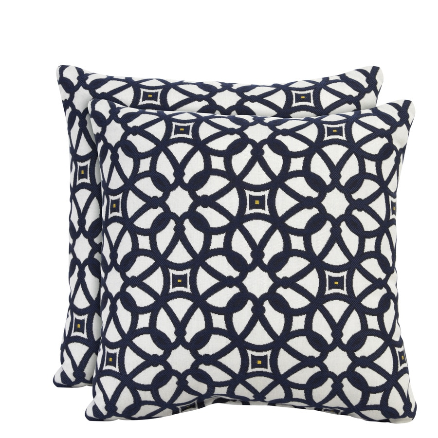 allen + roth Sunbrella 2-Pack Luxe Indigo Texture Square Outdoor Decorative Pillow