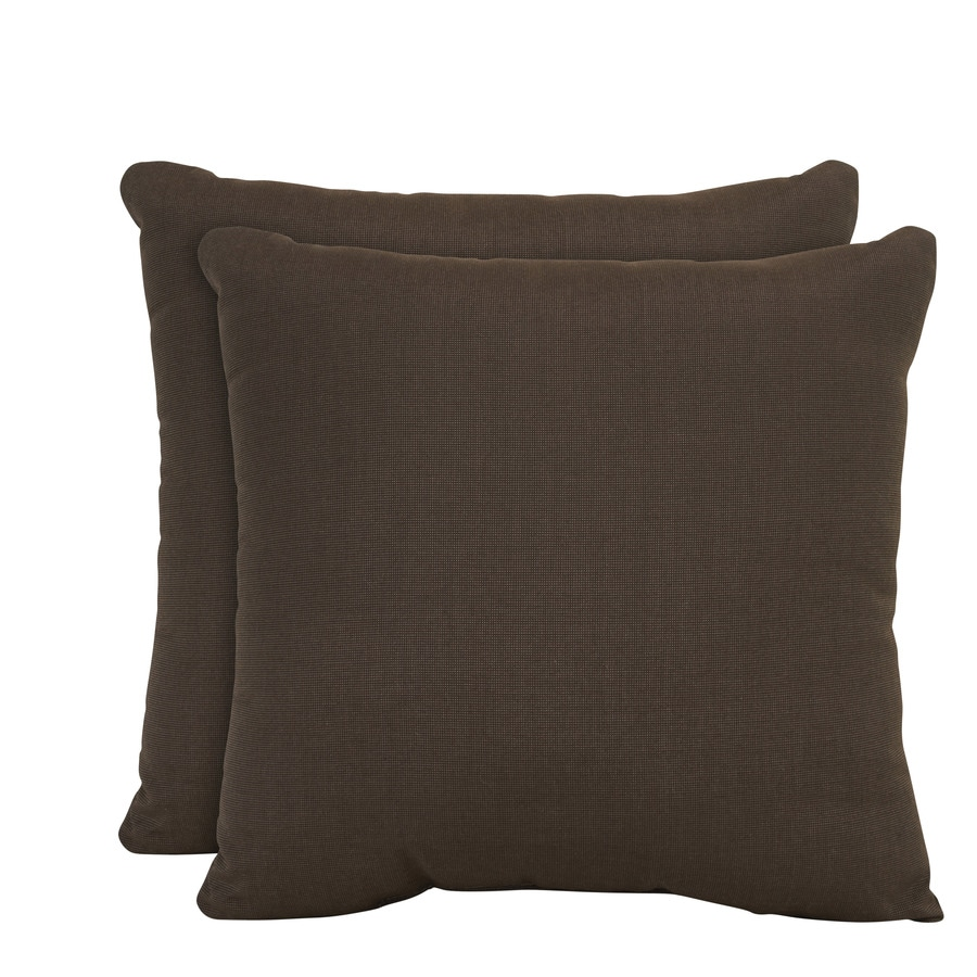 allen + roth Set of 2 Sunbrella Spectrum Coffee UV-Protected Square Outdoor Decorative Pillows