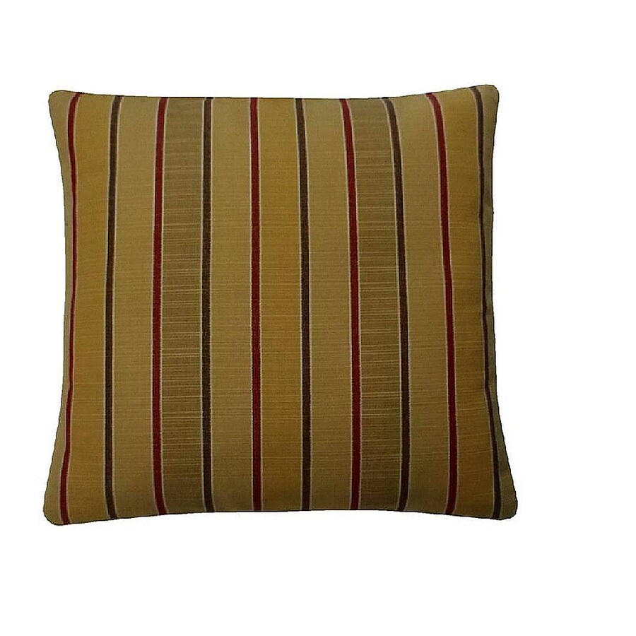 allen + roth Sunbrella 2-Pack Cassidy Goldenrod Stripe Square Outdoor Decorative Pillow