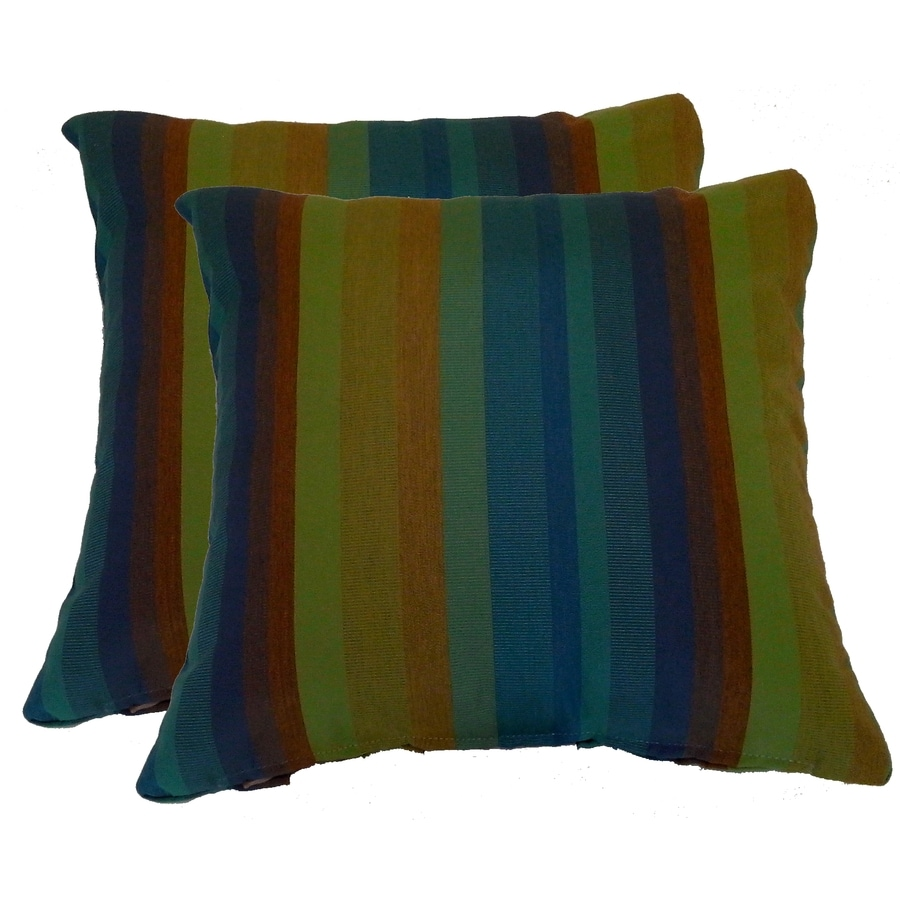 allen + roth 2-Pack 2-Pack Astoria Lagoon Stripe and Striped Square Throw Pillow Outdoor Decorative Pillow