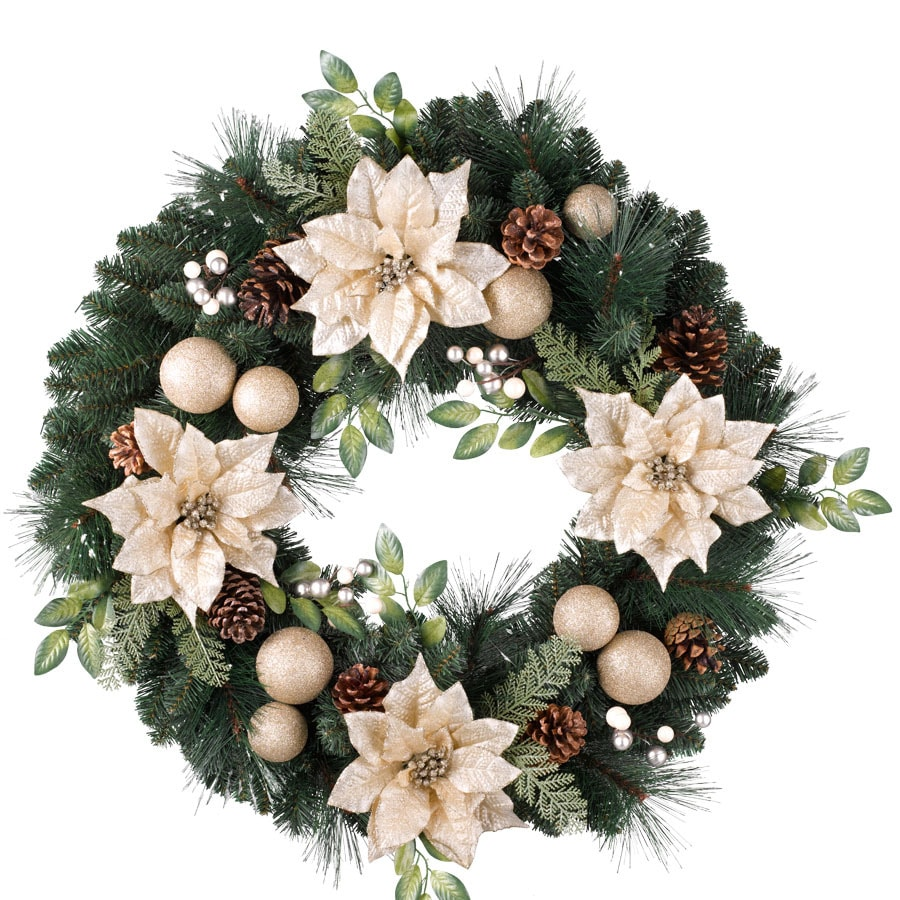 Holiday Living 30-in Un-Lit Green/Champagne Poinsettia Artificial Christmas Wreath