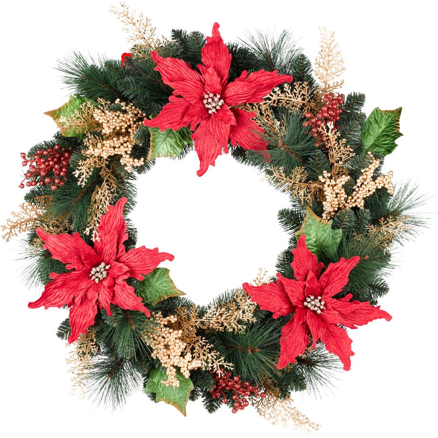 Holiday Living 30-in Un-Lit Green/Red Poinsettia Artificial Christmas Wreath