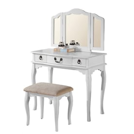 Phenomenal Rubberwood White Makeup Vanities At Lowes Com Pabps2019 Chair Design Images Pabps2019Com