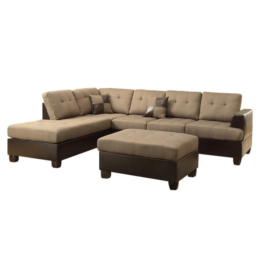 Poundex 3-Piece Winden Tan/Espresso Living Room Set at Lowes.com