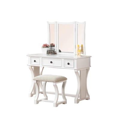 Awesome Poundex Bobkona Edna White Makeup Vanity At Lowes Com Pabps2019 Chair Design Images Pabps2019Com