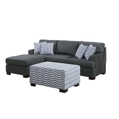 Poundex Roman Casual Slate Black Microfiber Sectional at ...