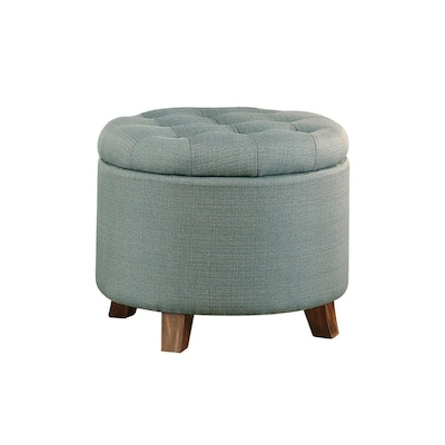 Cool Casual Light Blue Round Storage Ottoman Machost Co Dining Chair Design Ideas Machostcouk