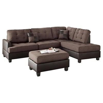 Poundex 3-Piece Matthew Chocolate/Dark Brown Living Room Set ...