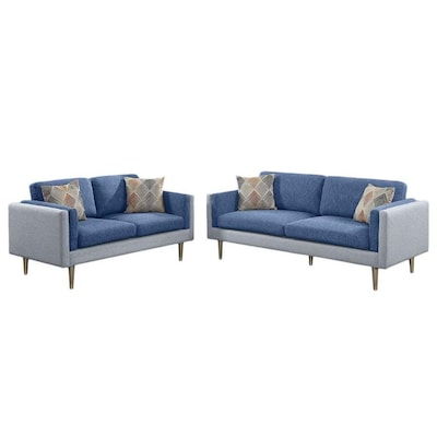Phenomenal Poundex 2 Piece Alwin Blue Aqua Living Room Set At Lowes Com Evergreenethics Interior Chair Design Evergreenethicsorg