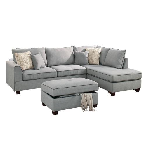 Poundex 3-Piece Rianne Light Blue Living Room Set at ...