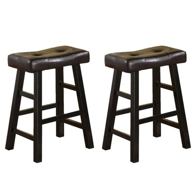 Outstanding Set Of 2 Black Espresso Faux Leather Counter Stool Pabps2019 Chair Design Images Pabps2019Com