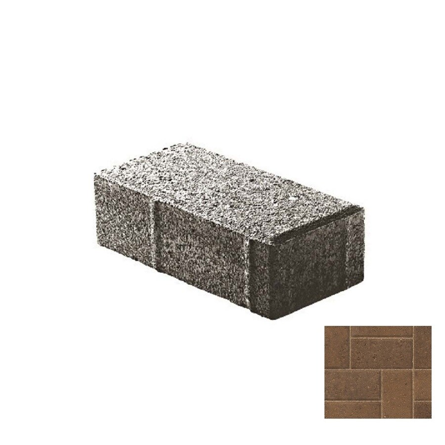 Oldcastle Holland Stone Burnt Walnut Interlocking Sections Paver (Common: 4-in x 8-in; Actual: 4-in x 8-in)