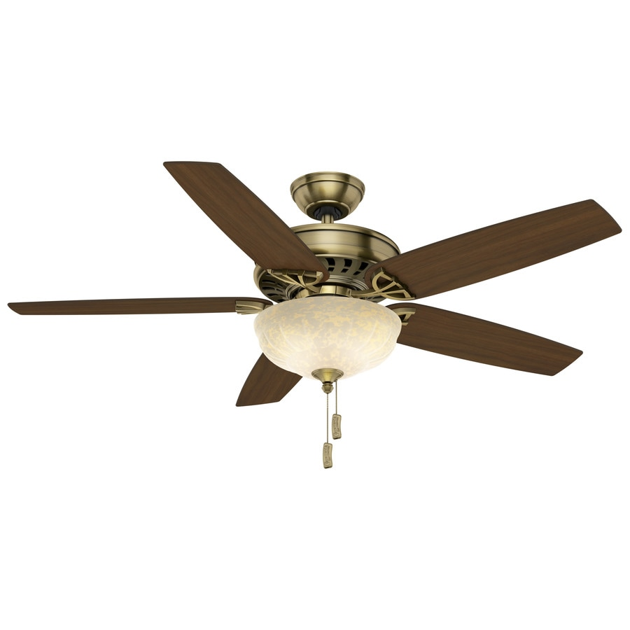 Casablanca 54-in Antique Brass Indoor Downrod Or Close Mount Ceiling Fan with Light Kit