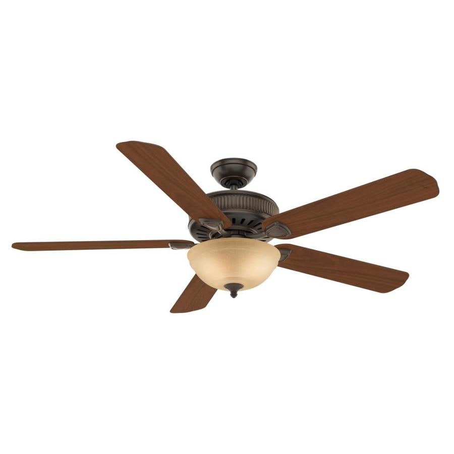 Casablanca Ainsworth Gallery 60-in Onyx Bengal Bronze Downrod or Close Mount Indoor Ceiling Fan with Light Kit