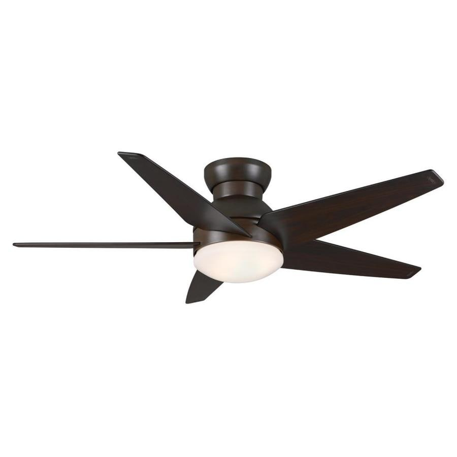 Casablanca Isotope 44-in Brushed Cocoa Indoor Flush Mount Ceiling Fan with Light Kit and Remote