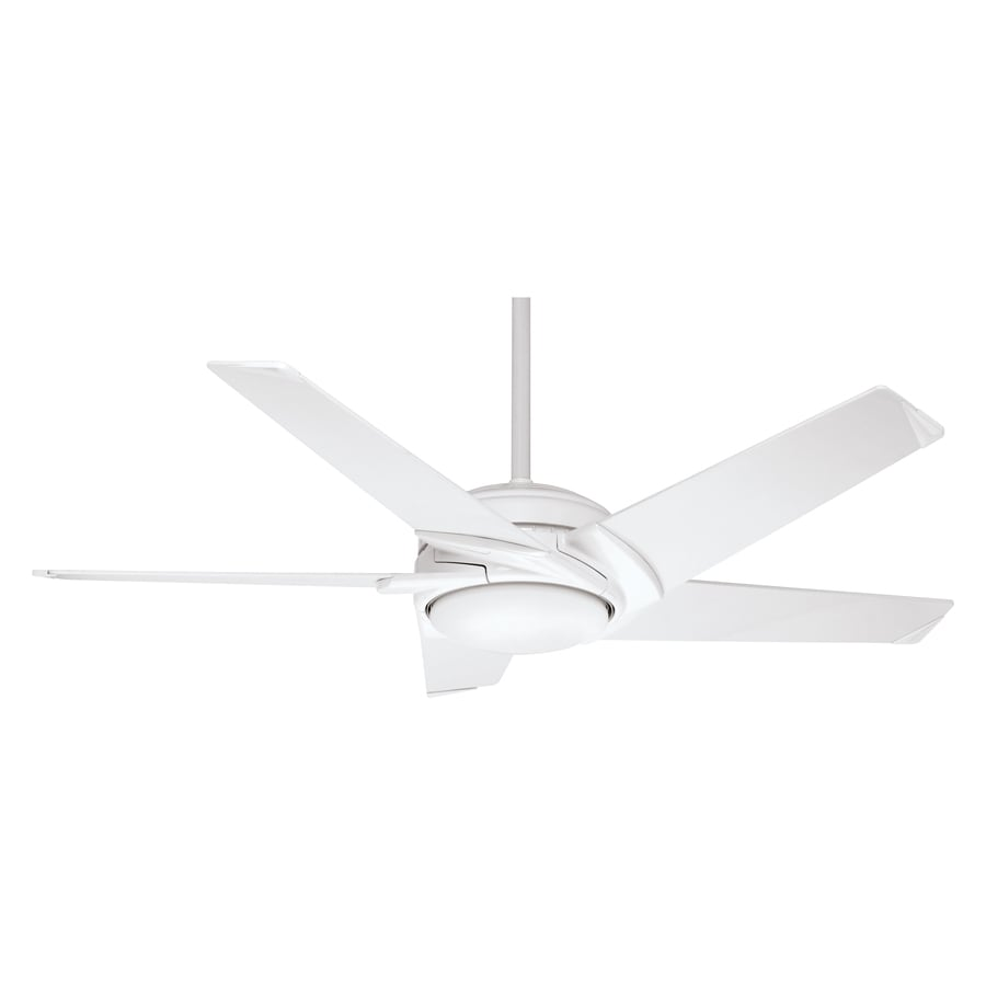 Casablanca Stealth DC 54-in Snow White Downrod Mount Ceiling Fan with Light Kit and Remote