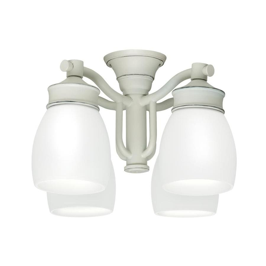 Casablanca 4-Light Cottage White Fluorescent Ceiling Fan Light Kit with Frosted Glass