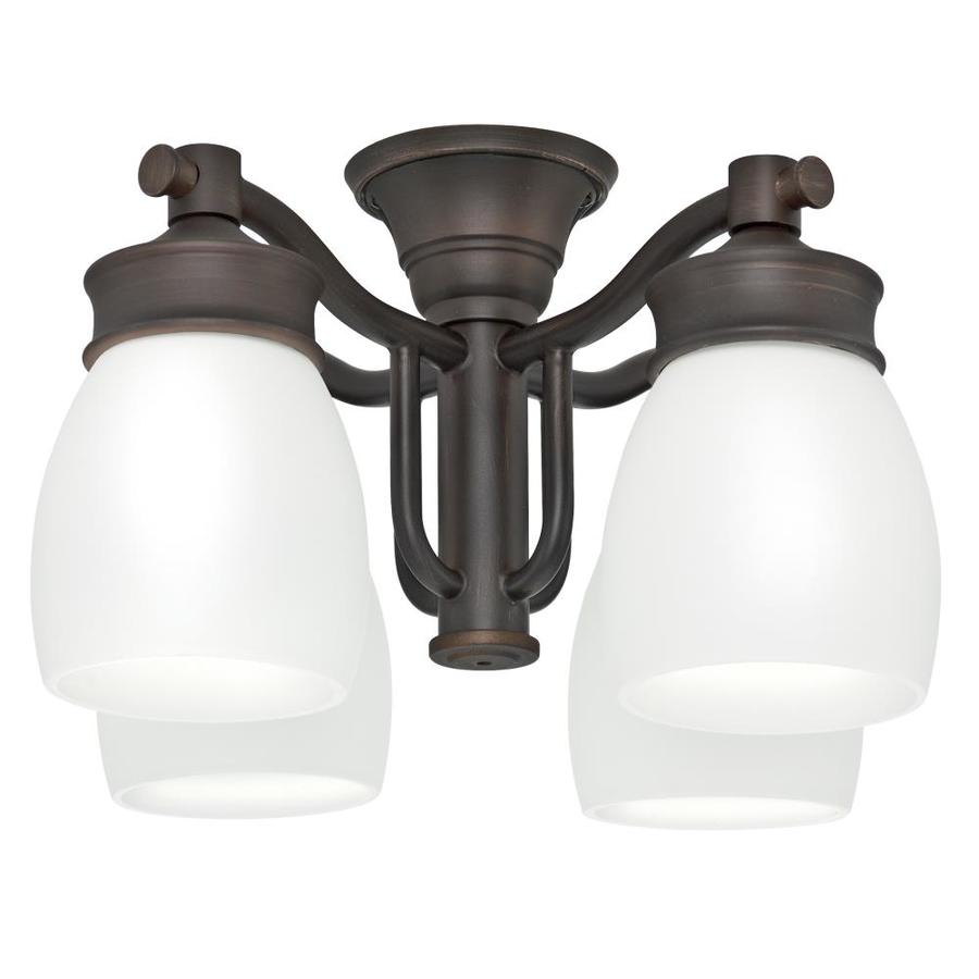 Casablanca 4-Light Brushed Cocoa Fluorescent Ceiling Fan Light Kit with Frosted Glass